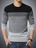 cheap Men's Tees & Tank Tops-Men's Plus Size Weekend Long Sleeves Pullover - Color Block Round Neck