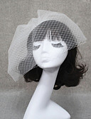 cheap Wedding Veils-Two-tier Cut Edge Wedding Veil Blusher Veils / Veils for Short Hair with Ruched 30 cm Tulle / Birdcage