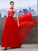preiswerte Abendkleider-A-Linie Stehkragen Boden-Länge Chiffon Schöner Rücken Cocktailparty / Abiball / Formeller Abend Kleid mit Applikationen durch TS Couture®