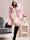 cheap Women's Coats & Trench Coats-Women's Ruffle Winter Solid Color Multi-color Coats & Jackets,Sexy/Casual/Work Tailored Collar Long Sleeve