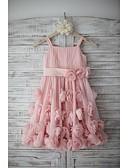 preiswerte Kleider für die Blumenmädchen-A-Linie Knie-Länge Blumenmädchenkleid - Chiffon Ärmellos Riemen mit Schleife(n) / Drapiert / Schärpe / Band durch