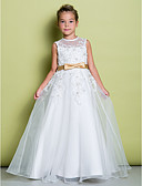 cheap Junior Bridesmaid Dresses-A-Line Floor Length Flower Girl Dress - Organza Sleeveless Jewel Neck with Appliques by LAN TING BRIDE®