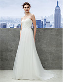 cheap Wedding Dresses-A-Line Sweetheart Neckline Sweep / Brush Train Tulle Made-To-Measure Wedding Dresses with Ruched by LAN TING BRIDE® / Beach / Destination