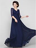 Χαμηλού Κόστους Φορέματα για τη Μητέρα της Νύφης-Γραμμή Α Λαιμόκοψη V Μέχρι τον αστράγαλο Σιφόν / Δαντέλα χάντρες Φόρεμα Μητέρας της Νύφης με Δαντέλα / Πιασίματα με LAN TING BRIDE®