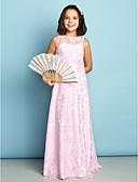 hesapli Çocuk Nedime Elbiseleri-Sütun Taşlı Yaka Yere Kadar Dantelalar Dantel ile Çocuk Nedime Elbisesi tarafından LAN TING BRIDE® / Doğal / Mini Me