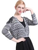 olcso Női pulóverek-Női Hosszú ujj Kardigán Egyszínű Mély-V