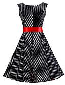 baratos Vestidos de Mulher-Mulheres Festa Vintage Algodão Evasê Vestido - Estampado, Poá Altura dos Joelhos Preto e Vermelho
