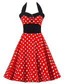 cheap Women's Downs & Parkas-Women's Going out Vintage Cotton A Line / Skater Dress - Polka Dot Red, Ruffle High Rise Halter Neck / Summer / Backless