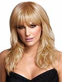 preiswerte Parykopfbedeckungen-Synthetische Perücken Glatt Blond Mit Pony Synthetische Haare Blond Perücke Damen Mittlerer Länge Kappenlos Blondine