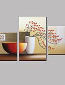 billige Vifter og parasoller-Hang malte oljemaleri Håndmalte - Blomstret / Botanisk Moderne Lerret