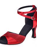 hesapli Gelin Şalları-Kadın's Latin Dans Ayakkabıları Parıltılı Sandaletler Kıvrımlı Topuk Kişiselleştirilmiş Dans Ayakkabıları Kahverengi / Gümüş / Kırmzı