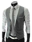 cheap Men's Blazers & Suits-Men's Business Formal Slim Vest-Solid Colored