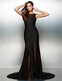 cheap Evening Dresses-Mermaid / Trumpet Illusion Neck Court Train Jersey See Through Cocktail Party / Formal Evening Dress with Beading by TS Couture®