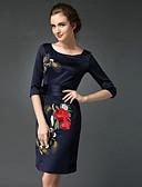 abordables Vestidos de Talla Grande-Mujer Trabajo Tejido Oriental Vaina Vestido Bordado Sobre la rodilla