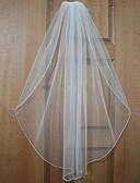 baratos Véus de Noiva-Uma Camada Borda Enfeitada Véus de Noiva Véu Cotovelo / Véu Ponta dos Dedos com Miçangas Tule / Clássico