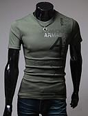 baratos Camisetas & Regatas Masculinas-Homens Camiseta - Esportes Estampado Letra Algodão