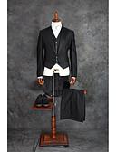 hesapli Takım Elbiseler-Siyah Solid Kişiye Özel Kalıp Pamuk Kaşımı Takım elbise - Çentik Çift Sıra Düğmeli Dört-Düğme