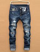 baratos Roupas Íntimas e Meias Masculinas-Homens Tamanhos Grandes Algodão Jeans Calças Estampado / Esportes