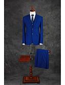 preiswerte Kleider für die Hochzeitsfeier-Königsblau Solide Reguläre Passform Baumwollmischung Anzug - Fallendes Revers Einreiher - 2 Knöpfe / Anzüge