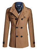 cheap Men's Jackets & Coats-Men's Daily / Work / Weekend Winter Long Coat, Solid Colored Peaked Lapel Long Sleeve Polyester / Woolen Modern Style Navy Blue / Camel / Dark Gray L / XL / XXL / Slim