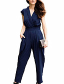 cheap Women's Jumpsuits & Rompers-Women's Plus Size Work / Weekend V Neck Black Royal Blue Jumpsuit, Solid Colored XL XXL XXXL Short Sleeve Summer / Slim