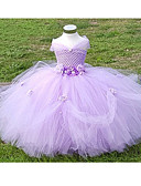 cheap Flower Girl Dresses-Ball Gown Ankle Length Flower Girl Dress - Polyester / Tulle Sleeveless Off Shoulder with Flower by LAN TING Express