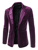cheap Men's Blazers & Suits-Men's Party / Casual / Daily / Work Regular Blazer, Solid Colored Peaked Lapel Long Sleeve Acrylic / Polyester Black / Purple / Wine L / XL / XXL