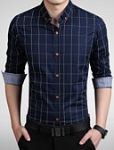 cheap Men's Shirts-Men's Work Plus Size Cotton Slim Shirt - Plaid Print Button Down Collar / Long Sleeve