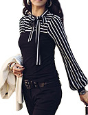 cheap Women's T-shirts-Women's Basic Plus Size Lantern Sleeve Blouse - Striped Bow Stand / Fine Stripe