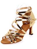 זול שמלות נשים-נעליים לטיניות דמוי עור סנדלים עקב רחב מותאם אישית נעלי ריקוד זהב / כסף / הצגה