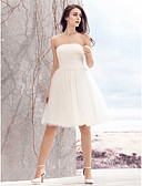cheap Wedding Dresses-A-Line Strapless Knee Length Tulle Made-To-Measure Wedding Dresses with Ruched by LAN TING BRIDE® / Little White Dress