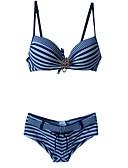 ieftine Bluze Damă-Pentru femei Floral Halter Rosu Verde Albastru Bikini Costume de Baie - Dungi M L XL / Push-up / Sutiene cu Bureți / Sutiene cu Întăritură