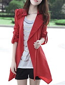 preiswerte Damenmäntel und Trenchcoats-Damen - Solide Trench Coat, Hemdkragen Baumwolle