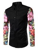 cheap Men's Sweaters & Cardigans-Men's Slim Shirt - Floral Patchwork Spread Collar