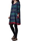 voordelige Maxi-jurken-Dames Grote maten Katoen Ruimvallend Ruimvallend Jurk - Geometrisch Boven de knie