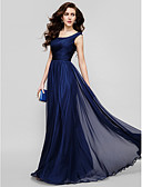 cheap Evening Dresses-A-Line Scoop Neck Floor Length Chiffon Formal Evening Dress with Ruched by TS Couture®