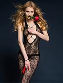 cheap Women's Nightwear-Women's Gartered Lingerie Ultra Sexy Teddy Nightwear Solid Nylon Black