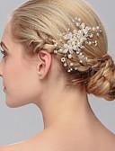 رخيصةأون هدايا بنات الزهور-اللؤلؤ فرش تمشيط للشعر / أغطية الرأس مع ورد 1PC زفاف / مناسبة خاصة / فضفاض خوذة