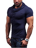 cheap Women's Lingerie-Men's Sports Active Cotton Slim T-shirt - Solid Colored Hooded / Short Sleeve
