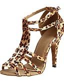 ieftine Salopete Damă-Pentru femei Pantofi Dans Latin / Pantofi Salsa / Pantofi de Samba Satin Sandale / Călcâi Cataramă Toc Personalizat Personalizabili Pantofi de dans Leopard / Negru / Violet / Interior / Performanță
