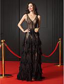 hesapli Gece Elbiseleri-A-Şekilli V Yaka Uzun Kuyruk Şeffaf Dantel Katmanlı Fırfır ile Resmi Akşam / Zerafet Galası Elbise tarafından TS Couture® / See Through