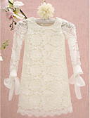 cheap Evening Dresses-Sheath / Column Knee Length Flower Girl Dress - Lace Long Sleeve Jewel Neck with Lace by LAN TING BRIDE®