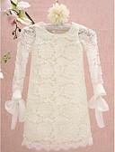 hesapli Çiçekçi Kız Elbiseleri-Sütun Taşlı Yaka Diz Boyu Dantelalar Dantel ile Çiçekçi Kız Elbisesi tarafından LAN TING BRIDE®