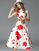 זול שמלות נשים-מידי דפוס שמלה גזרת A בגדי ריקוד נשים