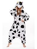 cheap Women's Dresses-Adults' Kigurumi Pajamas Milk Cow Onesie Pajamas Costume Polar Fleece White Cosplay For Animal Sleepwear Cartoon Halloween Festival / Holiday / Christmas