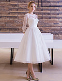 cheap Wedding Veils-A-Line / Princess Bateau Neck Tea Length Lace Over Tulle Made-To-Measure Wedding Dresses with Sash / Ribbon by LAN TING Express / Illusion Sleeve / Little White Dress / See-Through