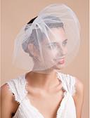 abordables Velos de Boda-3 capas Corte de borde Velos de Boda Corto o Blusher Velo para cabello corto Con Volantes Tul