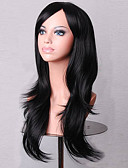 preiswerte Damen Nachtwäsche-Synthetische Perücken Damen Locken Schwarz Asymmetrischer Haarschnitt Synthetische Haare Natürlicher Haaransatz Schwarz Perücke Mittlerer Länge / Lang Kappenlos Schwarz