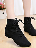 cheap Women's Skirts-Women's Jazz Shoes Canvas / Leatherette Boots Non Customizable Dance Shoes Black / Red