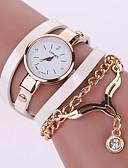 preiswerte Modische Uhren-Damen Armbanduhr Quartz Armbanduhren für den Alltag Leder Band Analog Böhmische Modisch Schwarz / Weiß / Blau - Grün Blau Kamel